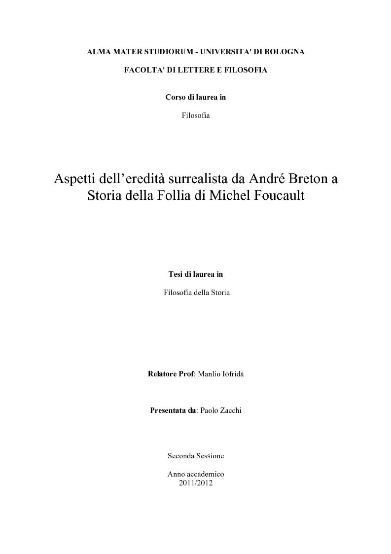 Anteprima della tesi: Aspetti dell'eredità surrealista da Andrè Breton a Michel Foucault, Pagina 1