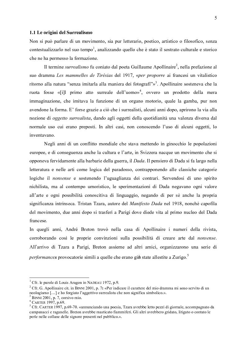 Anteprima della tesi: Aspetti dell'eredità surrealista da Andrè Breton a Michel Foucault, Pagina 4