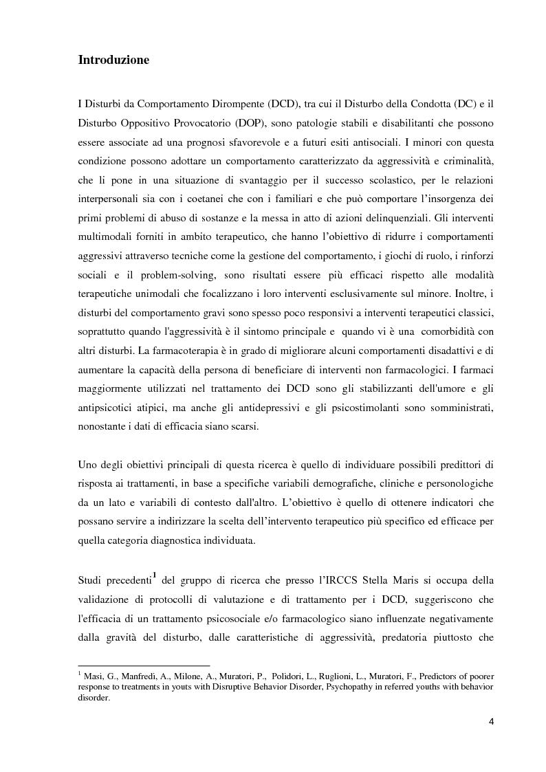 Anteprima della tesi: Analisi dei predittori di risposta ad un trattamento multimodale e ad un intervento farmacologico in minori con disturbi esternalizzanti, Pagina 2