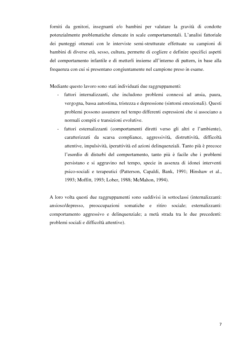 Anteprima della tesi: Analisi dei predittori di risposta ad un trattamento multimodale e ad un intervento farmacologico in minori con disturbi esternalizzanti, Pagina 5