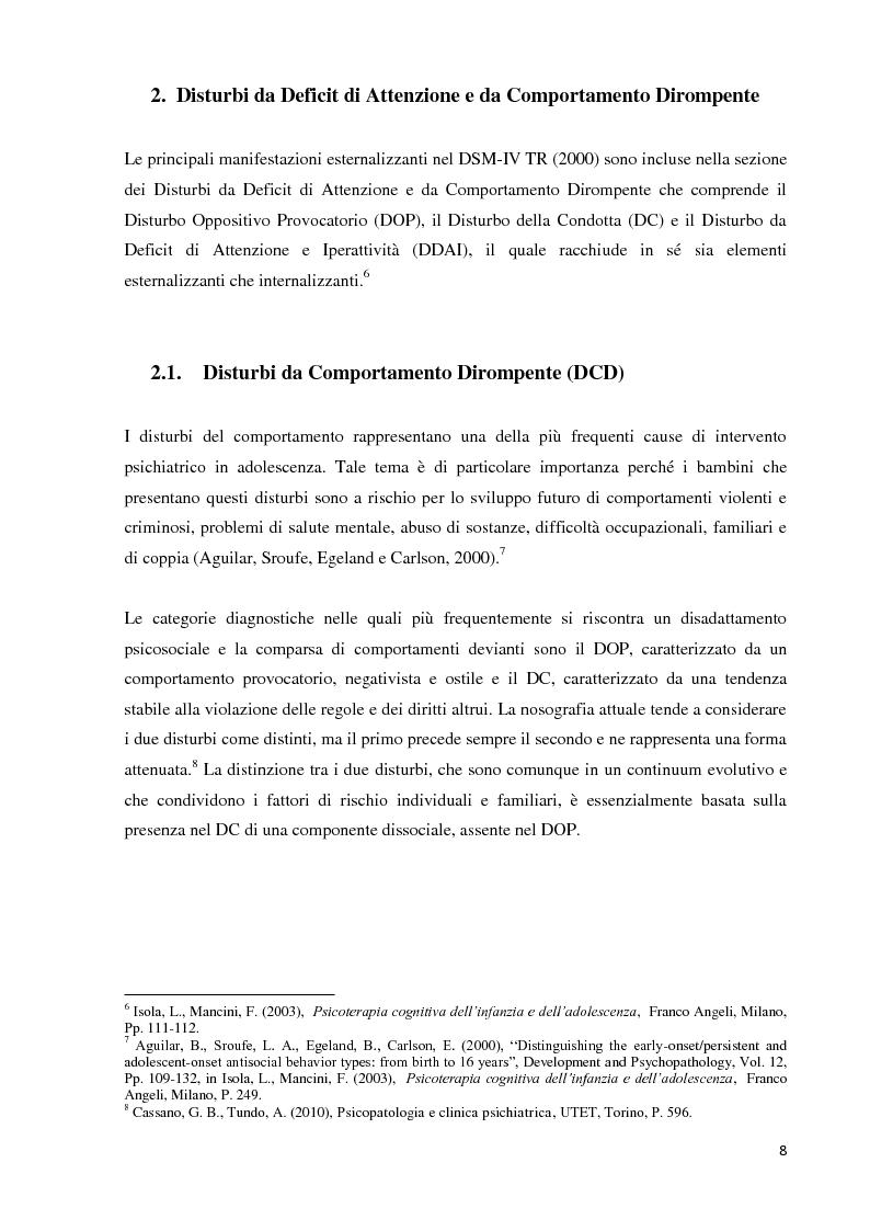 Anteprima della tesi: Analisi dei predittori di risposta ad un trattamento multimodale e ad un intervento farmacologico in minori con disturbi esternalizzanti, Pagina 6