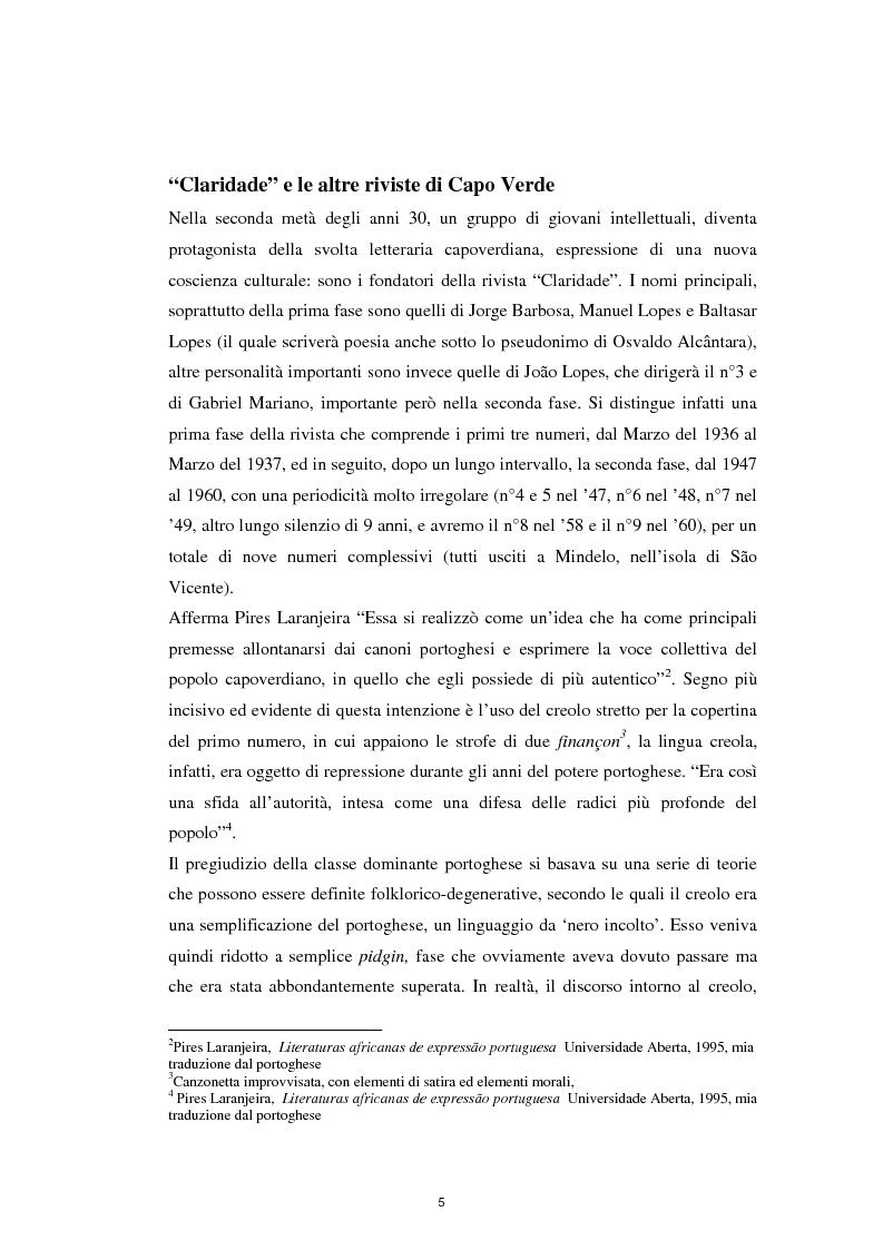 """Anteprima della tesi: Un ponte sull'Atlantico: influenza letteraria brasiliana sulla generazione di """"Claridade"""", Pagina 4"""