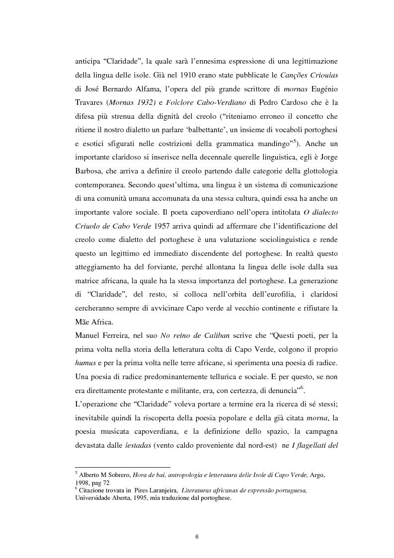 """Anteprima della tesi: Un ponte sull'Atlantico: influenza letteraria brasiliana sulla generazione di """"Claridade"""", Pagina 5"""