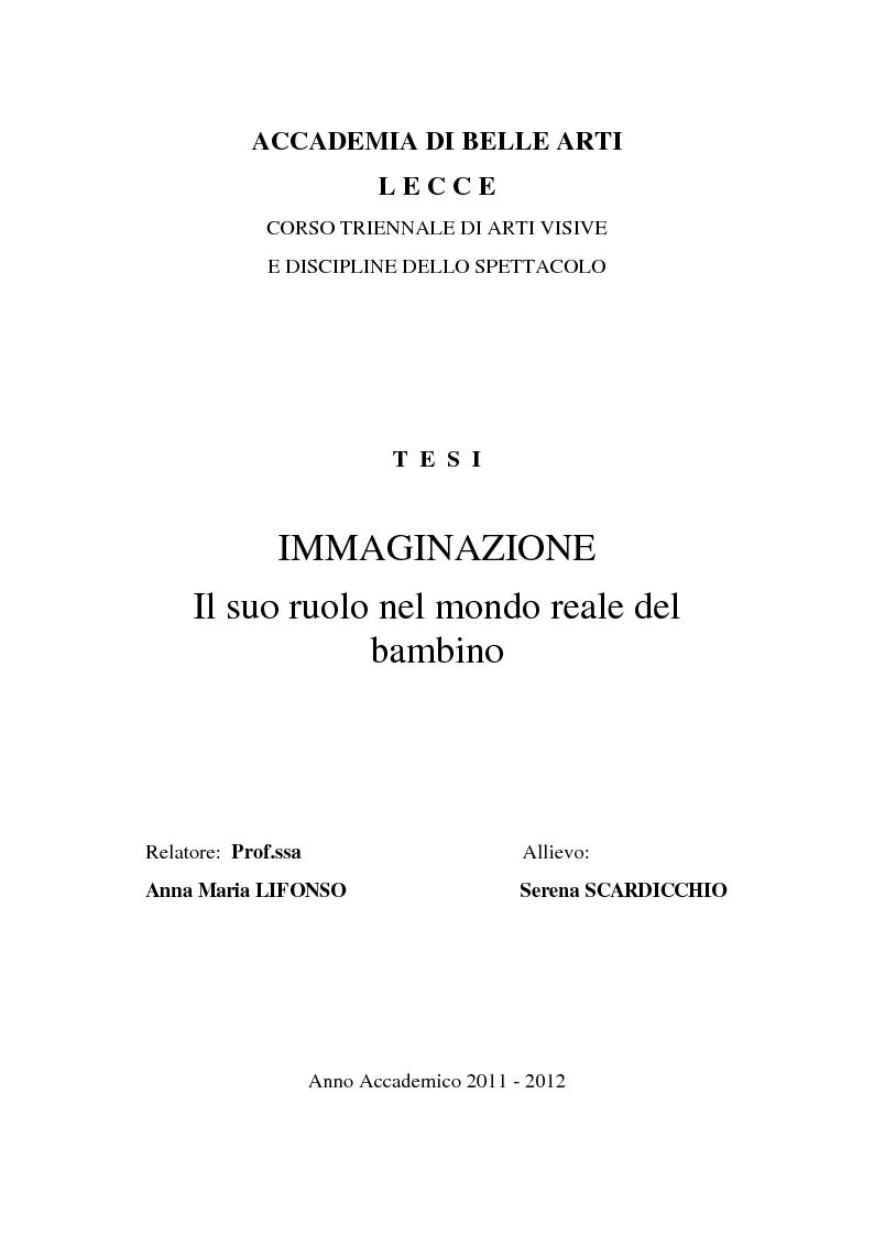 Anteprima della tesi: Immaginazione. Il suo ruolo nel mondo reale del bambino, Pagina 1