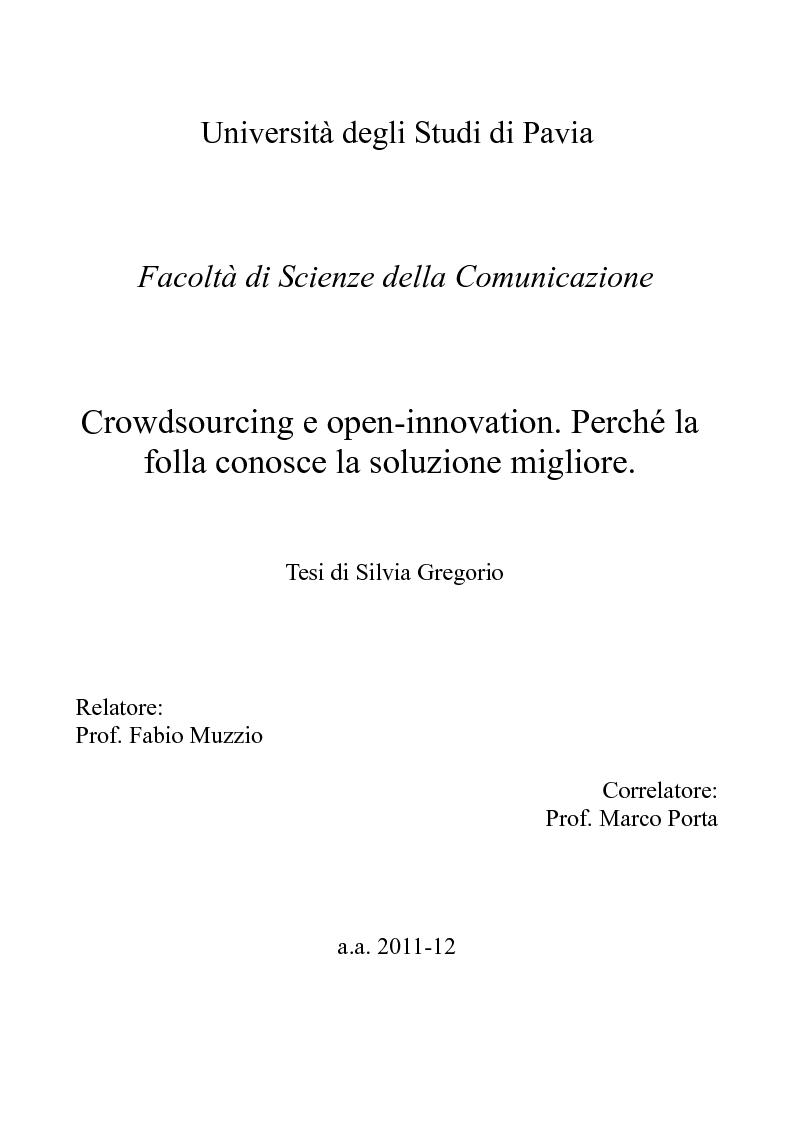 Anteprima della tesi: Crowdsourcing e open-innovation. Perché la folla conosce la soluzione migliore., Pagina 1
