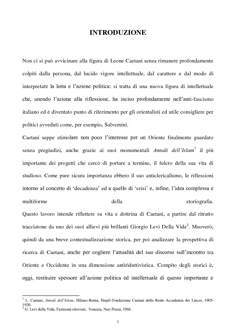 Anteprima della tesi: Orientalismo e storiografia in Leone Caetani, Pagina 2