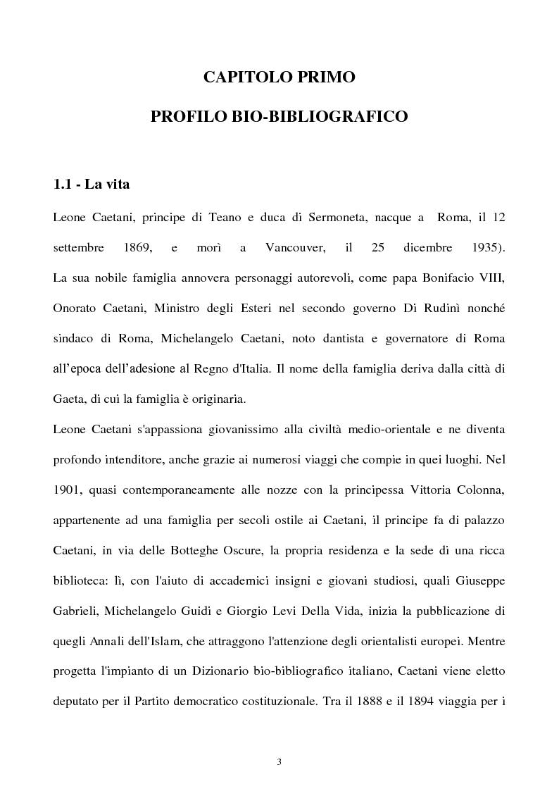 Anteprima della tesi: Orientalismo e storiografia in Leone Caetani, Pagina 4