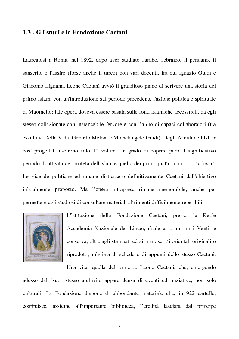 Anteprima della tesi: Orientalismo e storiografia in Leone Caetani, Pagina 9