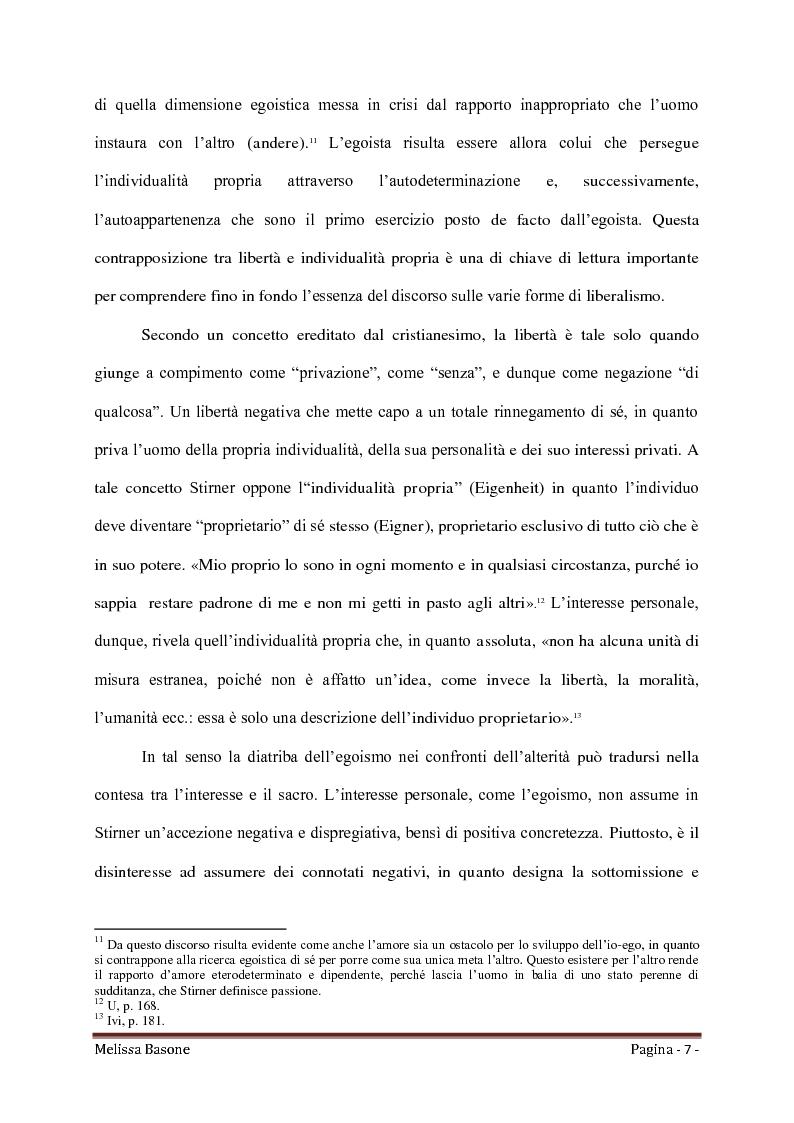 Anteprima della tesi: Ritorno all'Egoismo. Max Stirner e il liberalismo umanitario, Pagina 5