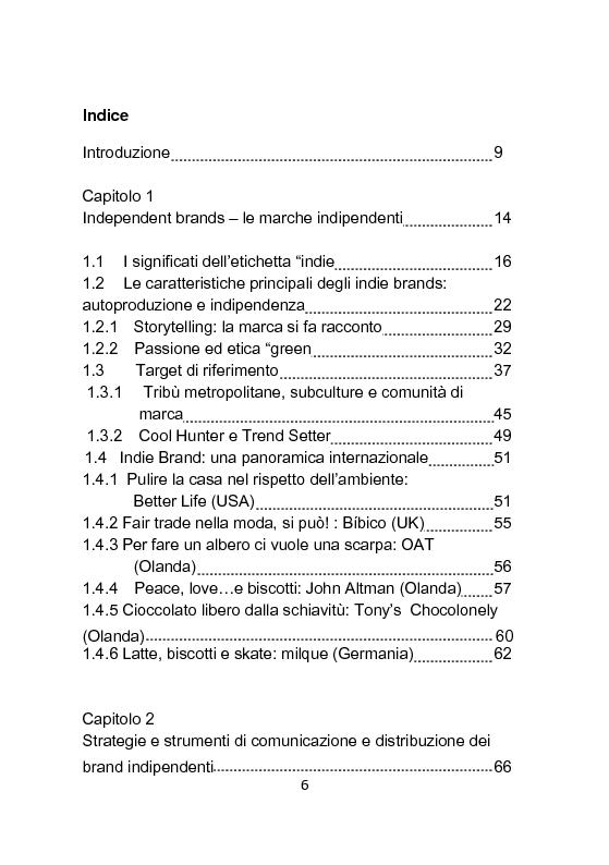 Indice della tesi: Independent Brands: il viaggio della marca dall'indie al mainstream, Pagina 1