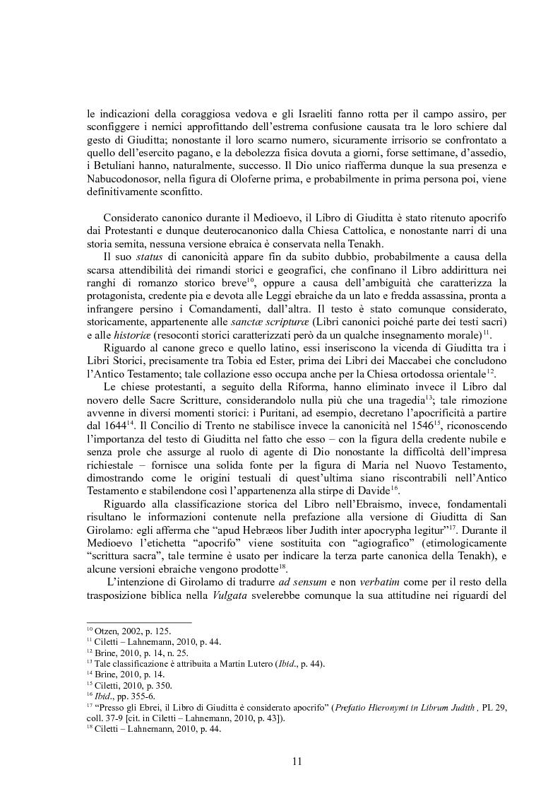 Anteprima della tesi: Rappresentazioni di un'eroina ambigua: Giuditta nella Bibbia e in due componimenti medievali inglesi, Pagina 10