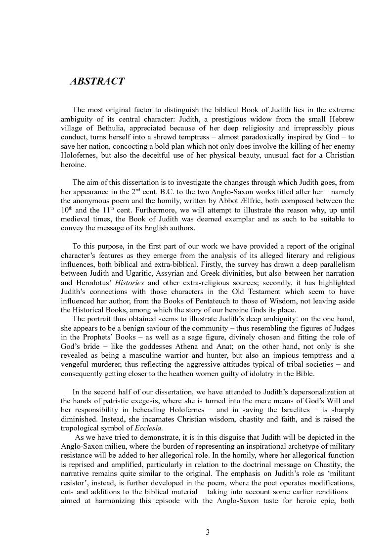 Anteprima della tesi: Rappresentazioni di un'eroina ambigua: Giuditta nella Bibbia e in due componimenti medievali inglesi, Pagina 2