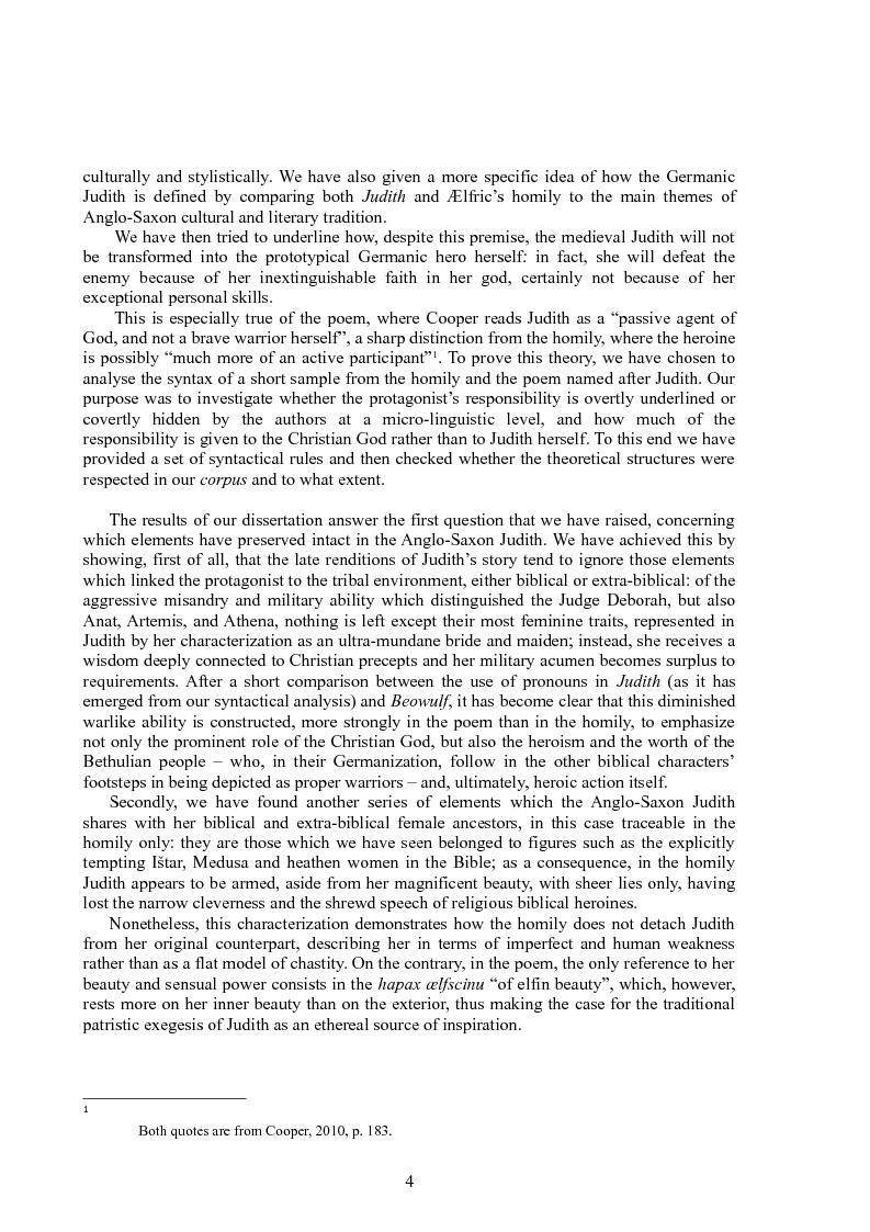 Anteprima della tesi: Rappresentazioni di un'eroina ambigua: Giuditta nella Bibbia e in due componimenti medievali inglesi, Pagina 3