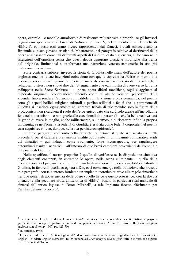 Anteprima della tesi: Rappresentazioni di un'eroina ambigua: Giuditta nella Bibbia e in due componimenti medievali inglesi, Pagina 7