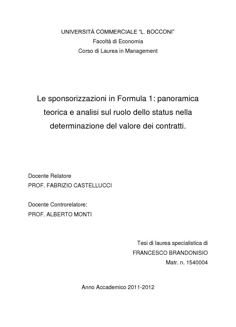 Anteprima della tesi: Le sponsorizzazioni in Formula 1: panoramica teorica ed analisi sul ruolo dello status nella determinazione del valore dei contratti, Pagina 1