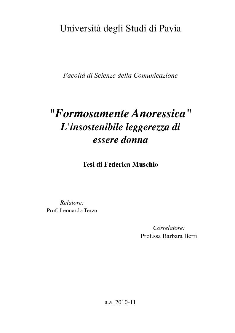 Anteprima della tesi: ''Formosamente Anoressica''. L'insostenibile leggerezza di essere donna, Pagina 1