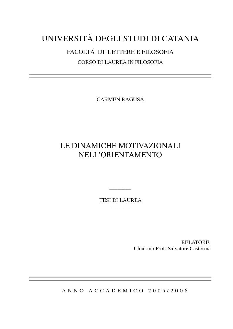 Anteprima della tesi: Le dinamiche motivazionali nell'orientamento scolastico-professionale, Pagina 1