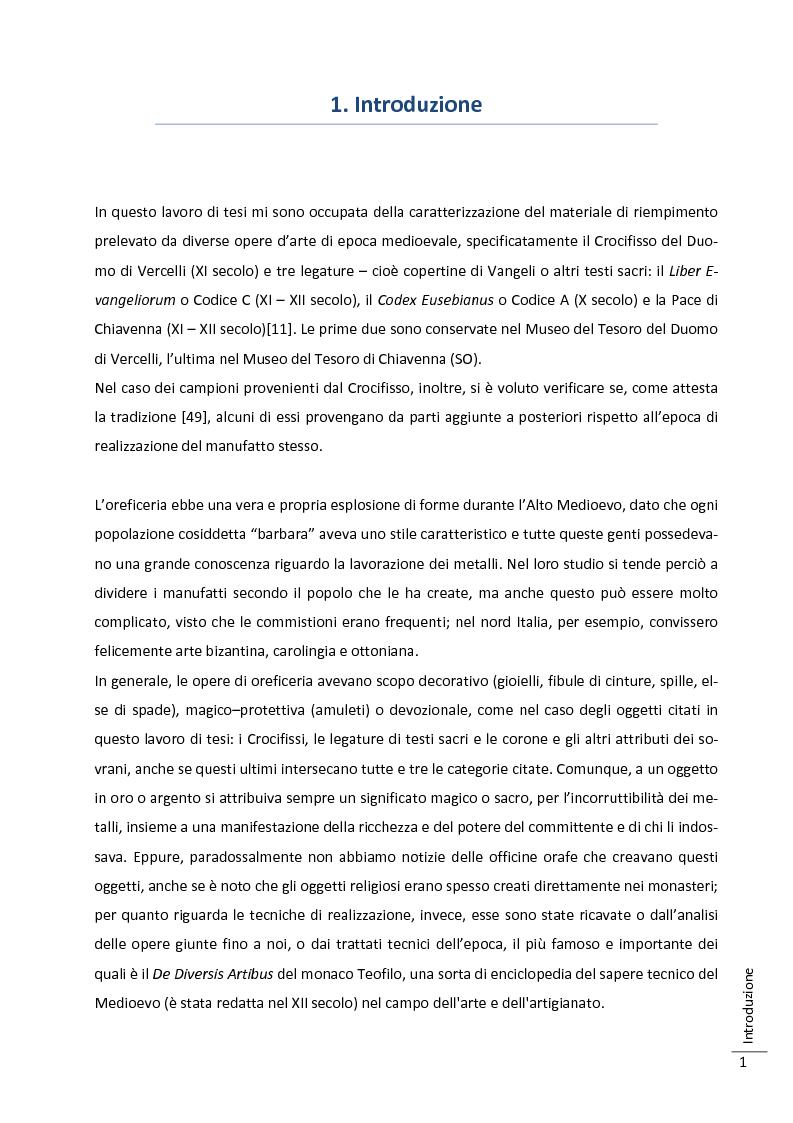 Anteprima della tesi: Caratterizzazione multitecnica di materiali adesivi e di riempimento usati nella oreficeria medievale, Pagina 2