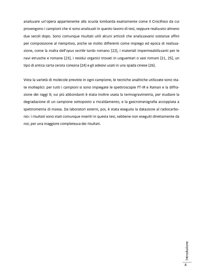 Anteprima della tesi: Caratterizzazione multitecnica di materiali adesivi e di riempimento usati nella oreficeria medievale, Pagina 5
