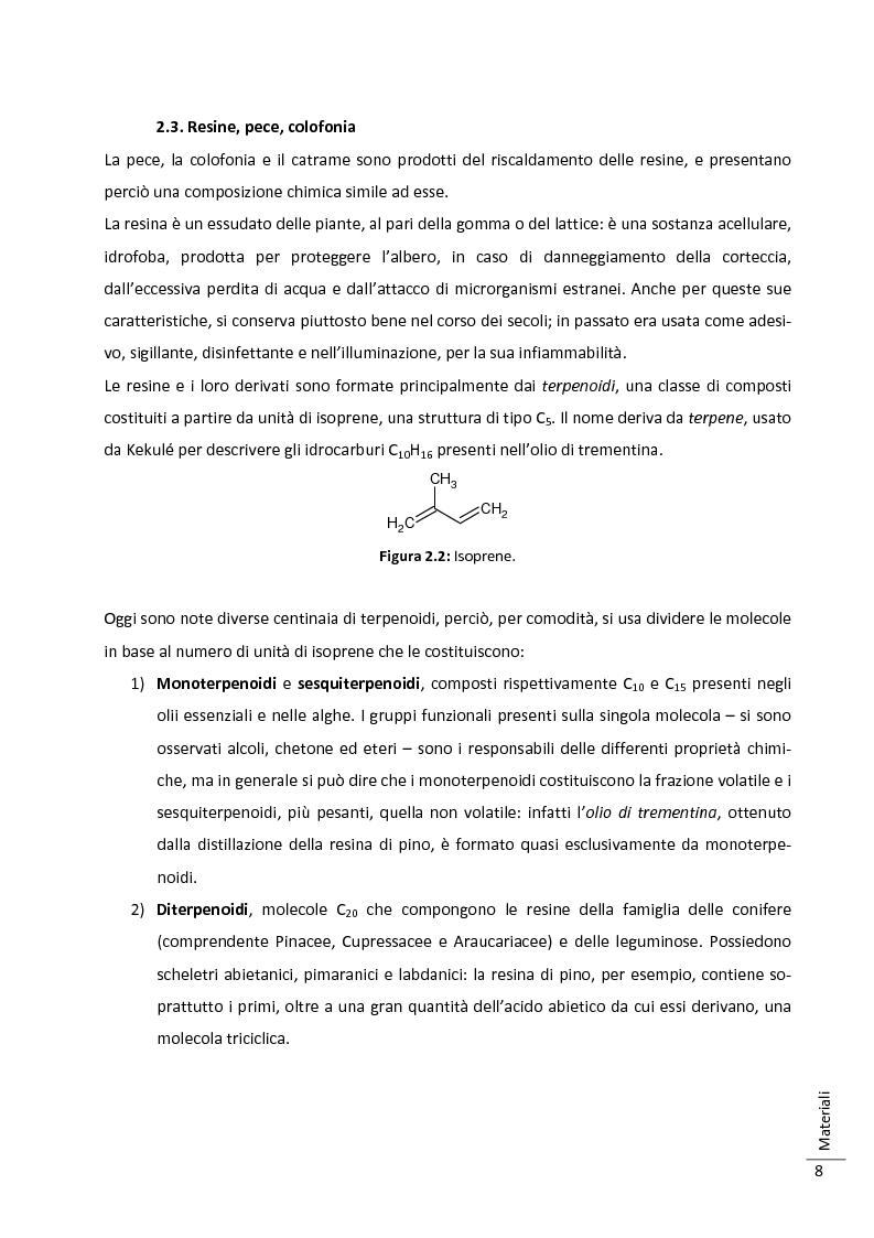 Anteprima della tesi: Caratterizzazione multitecnica di materiali adesivi e di riempimento usati nella oreficeria medievale, Pagina 9