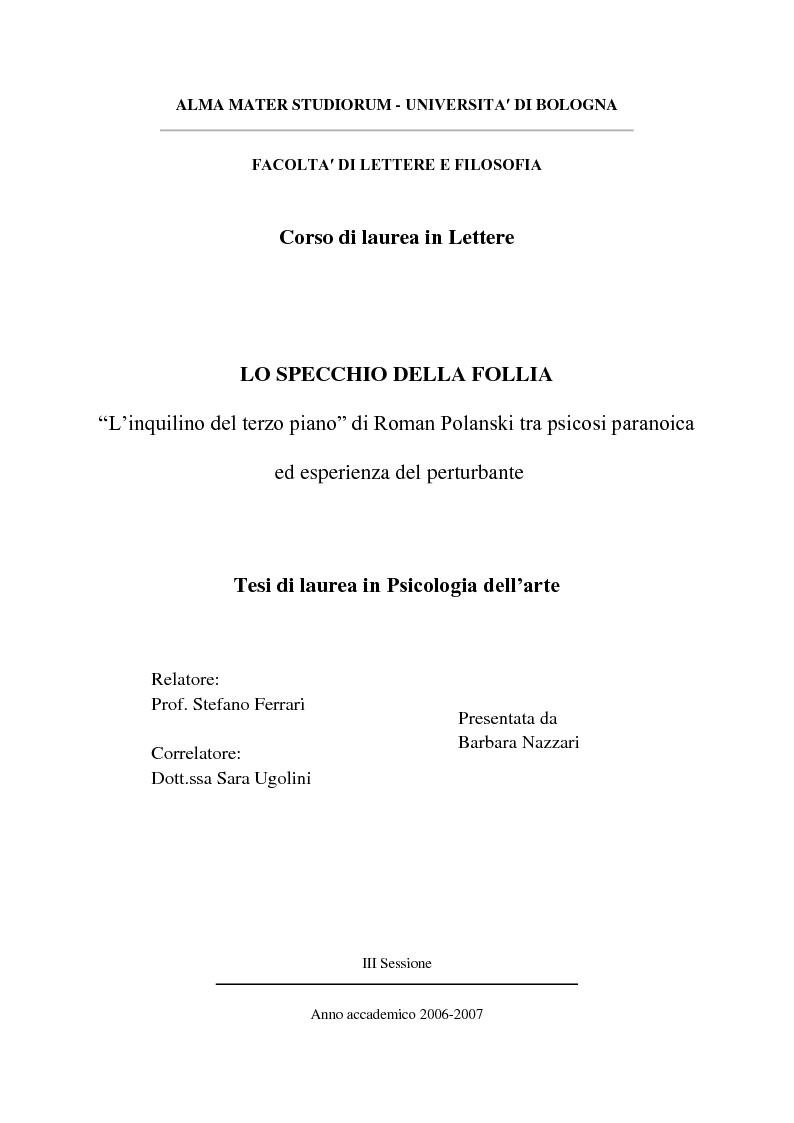 """Anteprima della tesi: Lo specchio della Follia. """"L'inquilino del terzo piano"""" di Roman Polanski tra psicosi paranoica ed esperienza del perturbante, Pagina 1"""