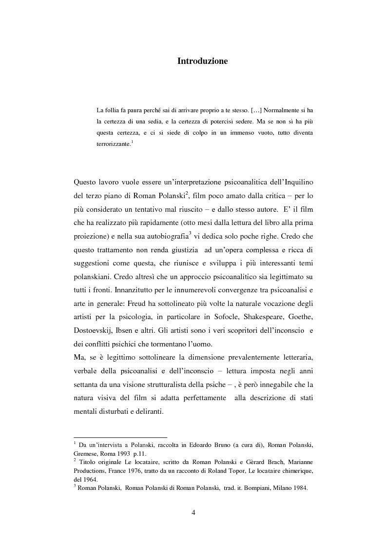 """Anteprima della tesi: Lo specchio della Follia. """"L'inquilino del terzo piano"""" di Roman Polanski tra psicosi paranoica ed esperienza del perturbante, Pagina 2"""