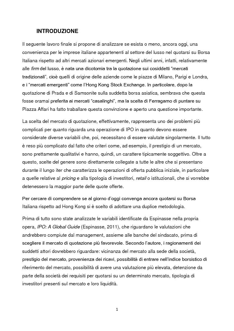 Anteprima della tesi: Le IPO nel settore del lusso: conviene ancora quotarsi in Italia? Il caso Salvatore Ferragamo S.p.A. vs Prada S.p.A., Pagina 2