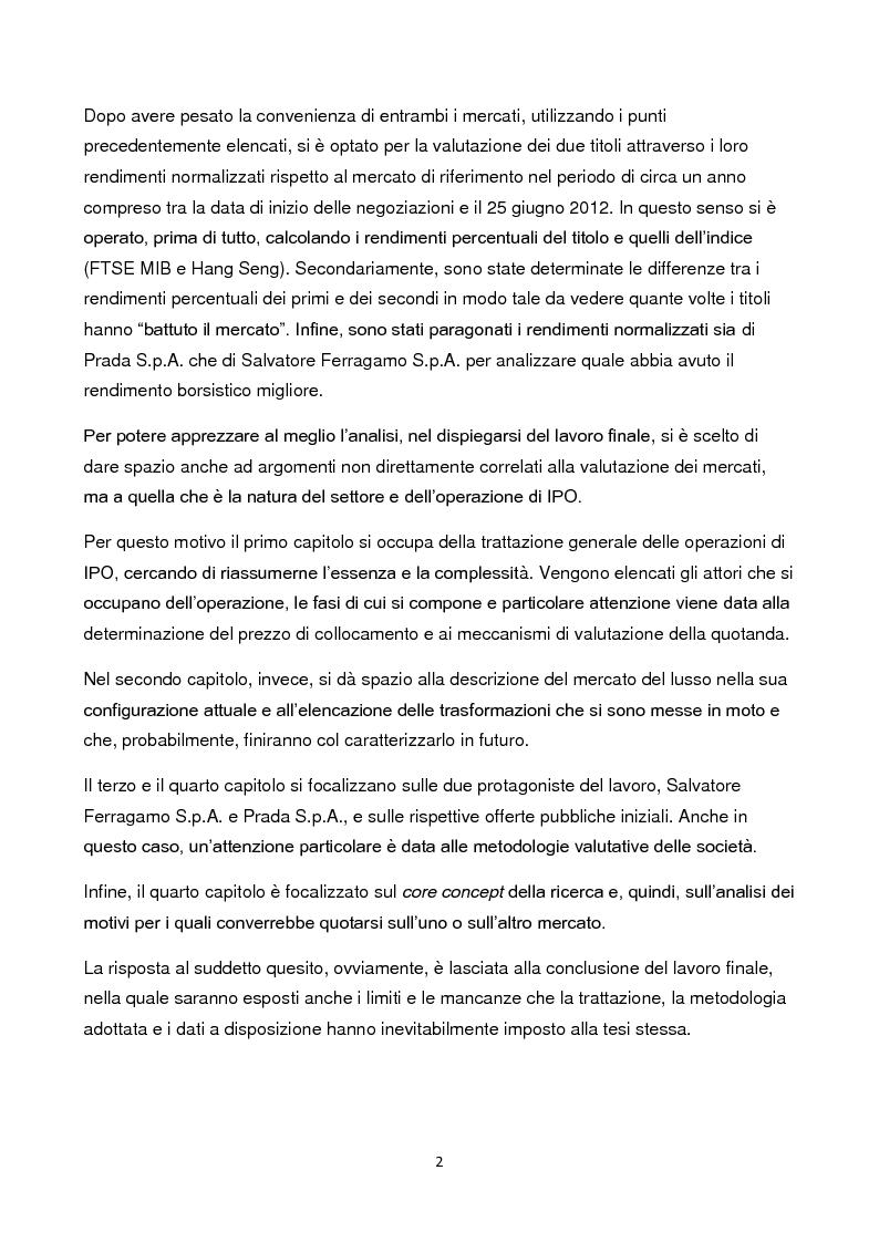 Anteprima della tesi: Le IPO nel settore del lusso: conviene ancora quotarsi in Italia? Il caso Salvatore Ferragamo S.p.A. vs Prada S.p.A., Pagina 3