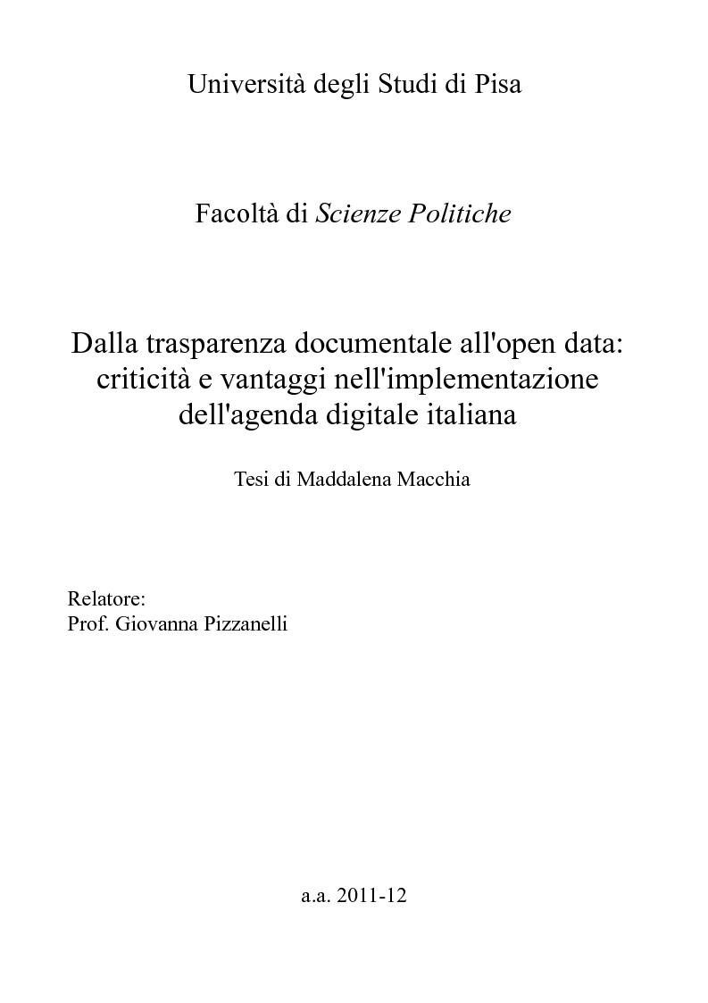 Anteprima della tesi: Dalla trasparenza documentale all'open data: criticità e vantaggi nell'implementazione dell'agenda digitale italiana, Pagina 1