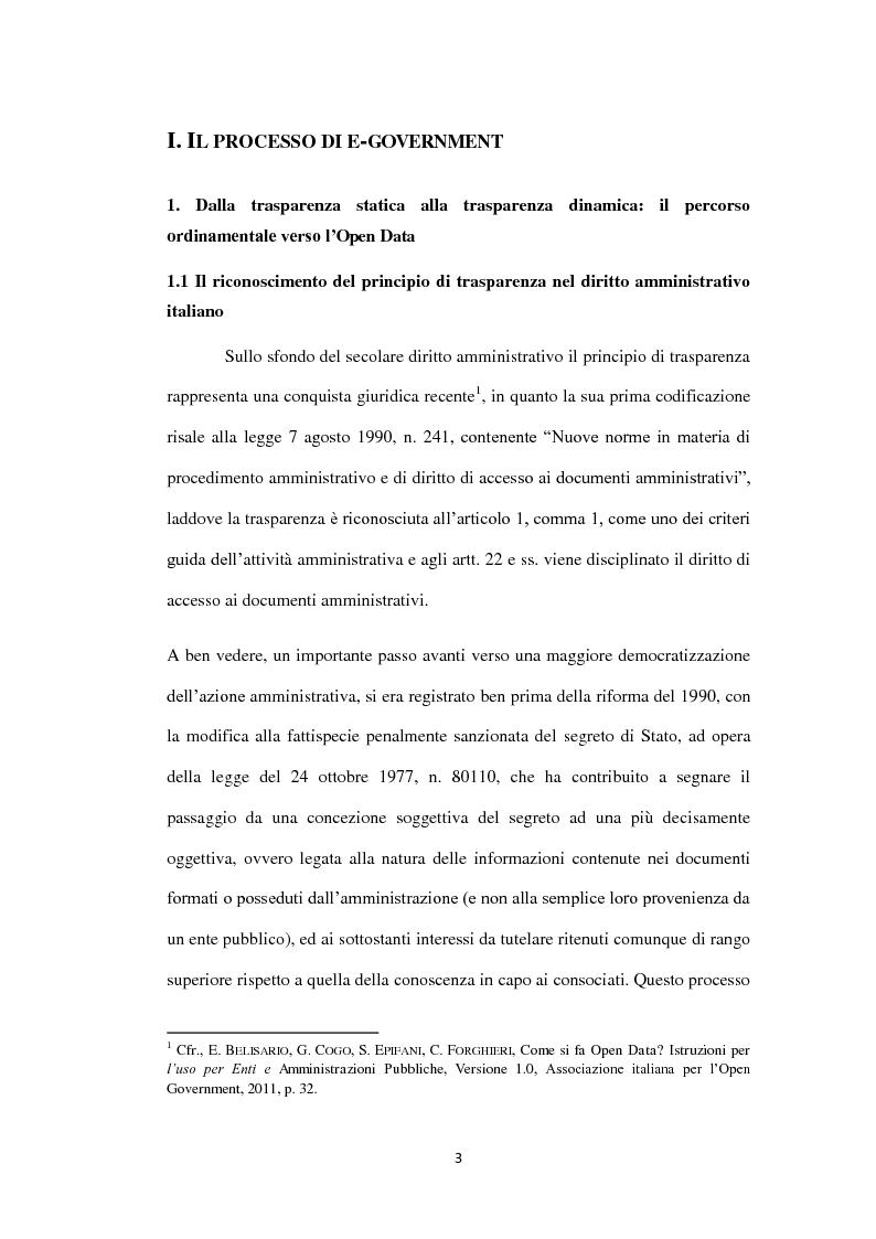 Anteprima della tesi: Dalla trasparenza documentale all'open data: criticità e vantaggi nell'implementazione dell'agenda digitale italiana, Pagina 4
