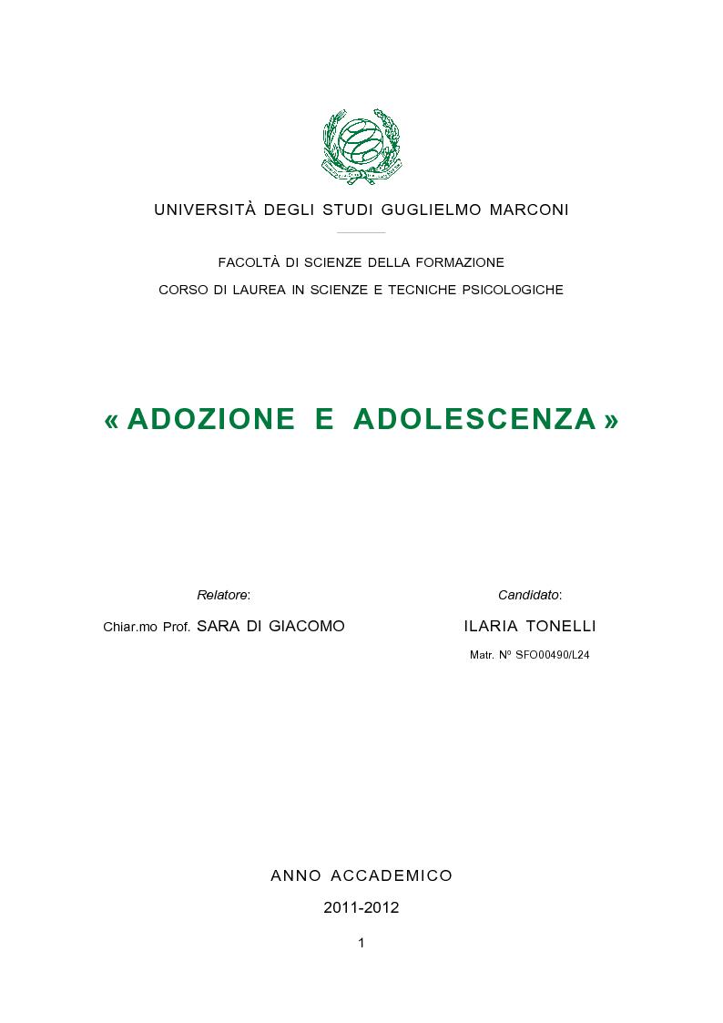 Anteprima della tesi: Adozione e adolescenza, Pagina 1