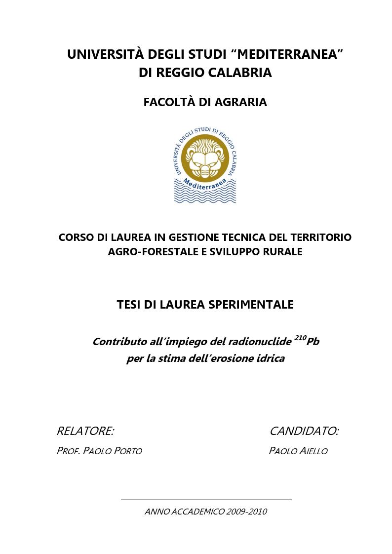 Anteprima della tesi: Contributo all'impiego del radionuclide 210Pb per la stima dell'erosione idrica, Pagina 1