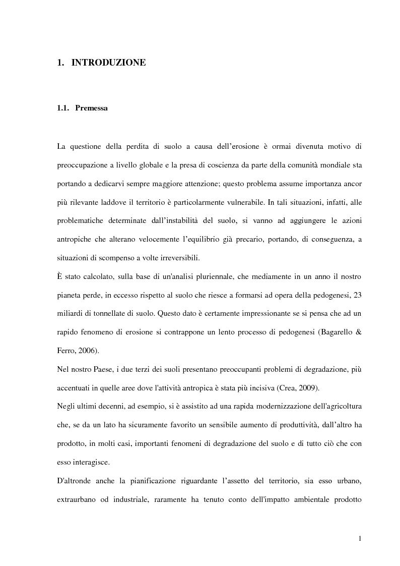 Anteprima della tesi: Contributo all'impiego del radionuclide 210Pb per la stima dell'erosione idrica, Pagina 2