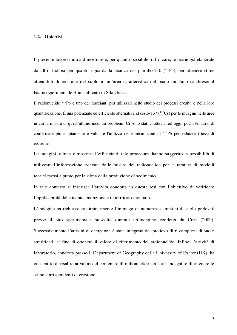 Anteprima della tesi: Contributo all'impiego del radionuclide 210Pb per la stima dell'erosione idrica, Pagina 4
