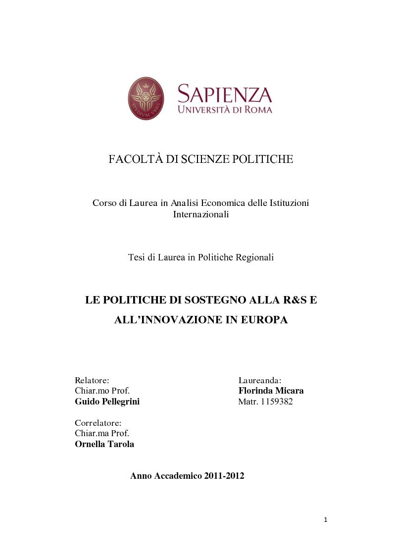 Anteprima della tesi: Le politiche a sostegno della Ricerca e Sviluppo e dell'Innovazione in Europa, Pagina 1