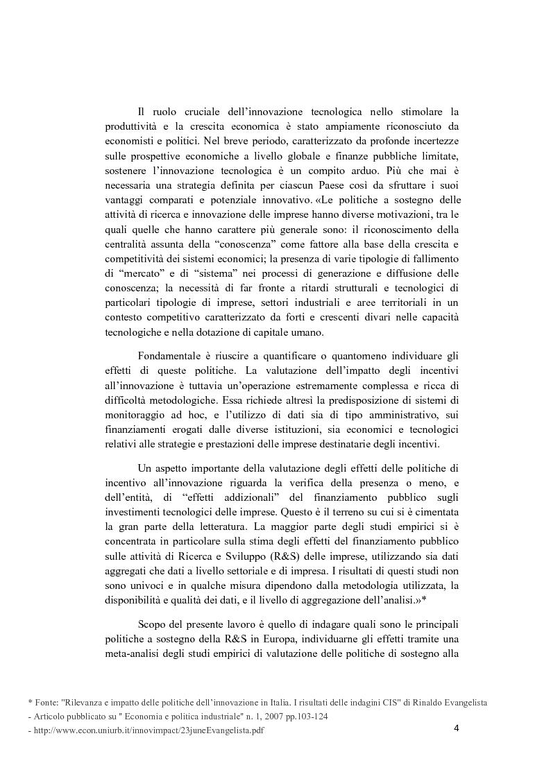 Anteprima della tesi: Le politiche a sostegno della Ricerca e Sviluppo e dell'Innovazione in Europa, Pagina 2