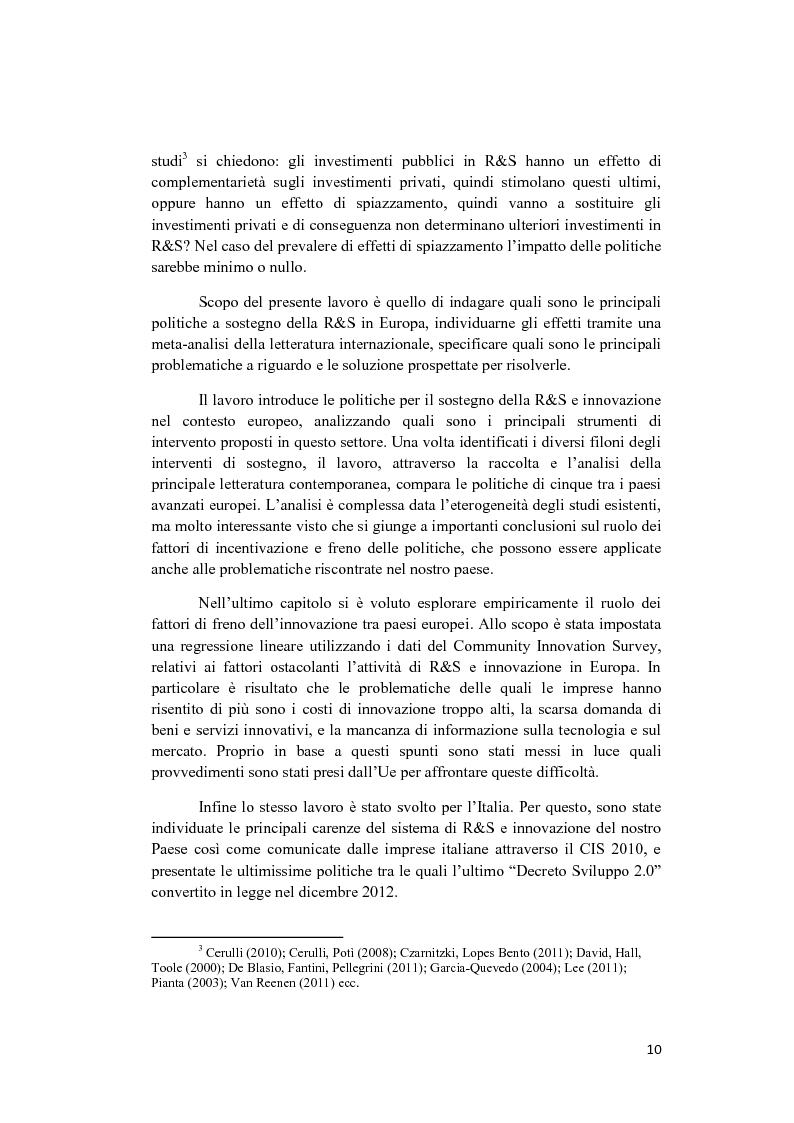 Anteprima della tesi: Le politiche a sostegno della Ricerca e Sviluppo e dell'Innovazione in Europa, Pagina 8
