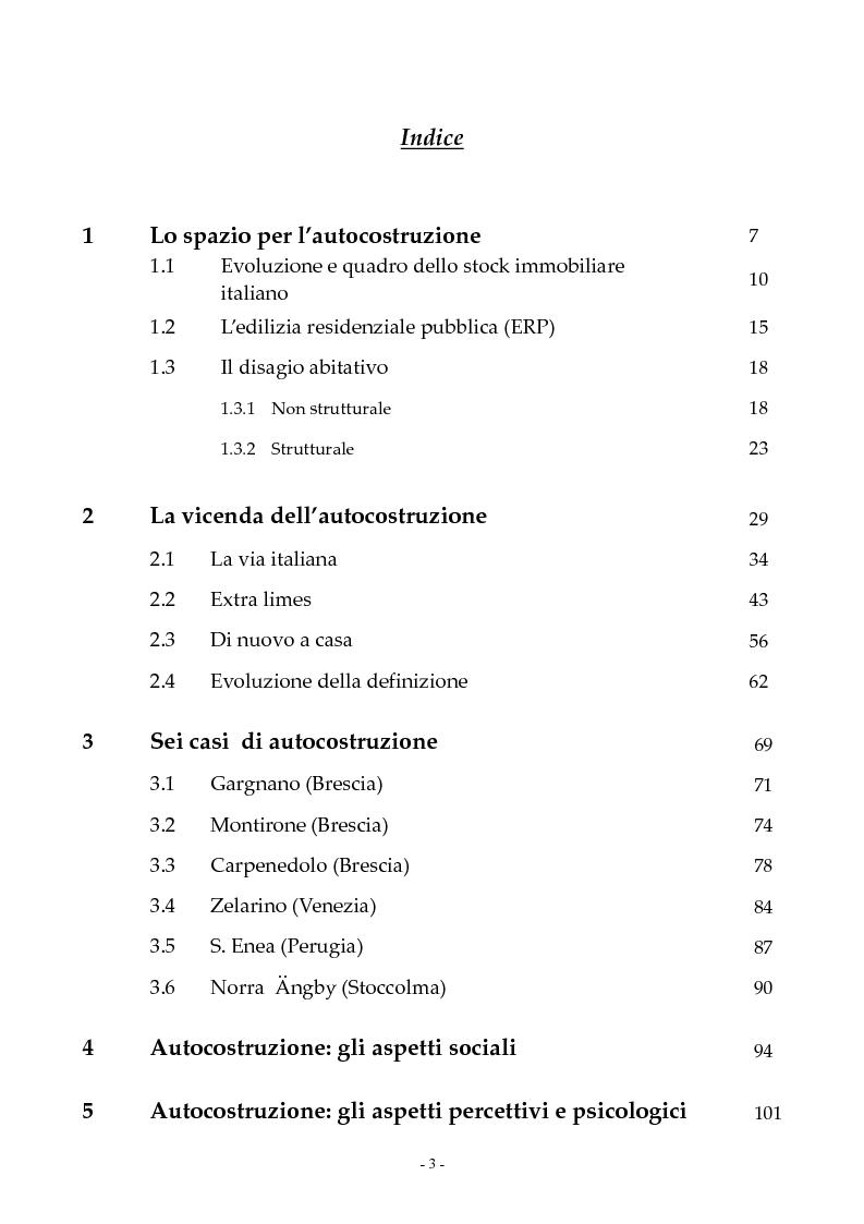 Indice della tesi: Autocostruzione: casi, pratiche, politiche, Pagina 1