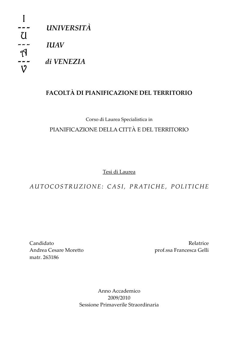 Anteprima della tesi: Autocostruzione: casi, pratiche, politiche, Pagina 1