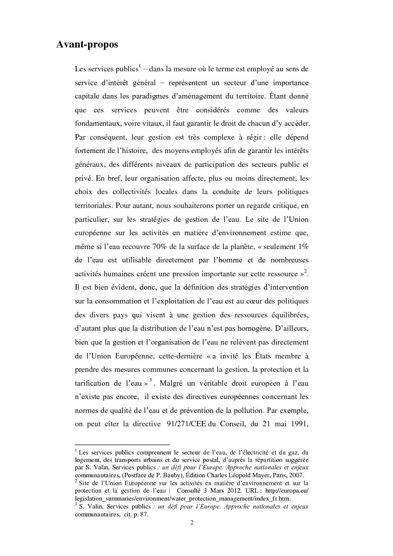 Anteprima della tesi: Le service public de l'eau. Définition, organisation et gestion. Une comparaison entre France et Italie, Pagina 2