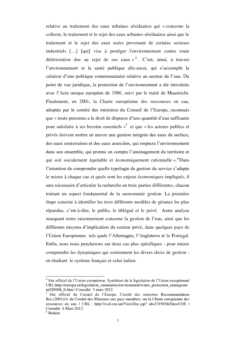 Anteprima della tesi: Le service public de l'eau. Définition, organisation et gestion. Une comparaison entre France et Italie, Pagina 3