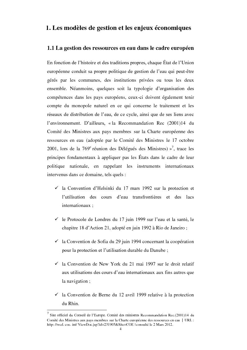 Anteprima della tesi: Le service public de l'eau. Définition, organisation et gestion. Une comparaison entre France et Italie, Pagina 4