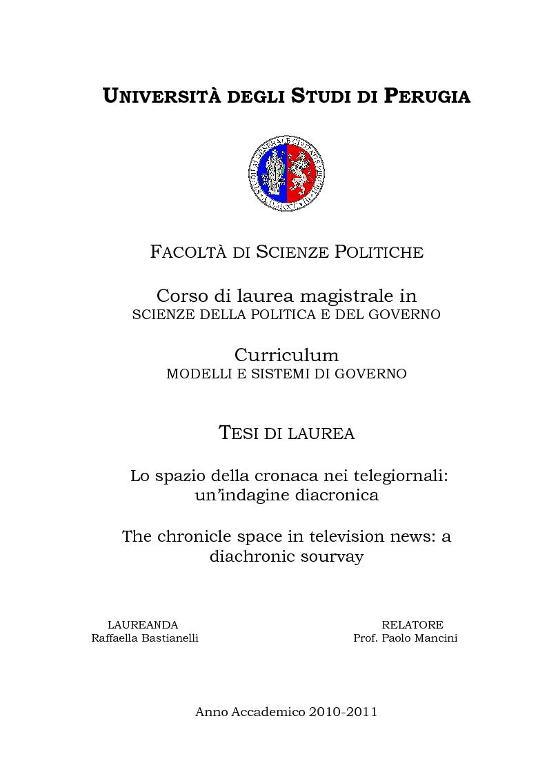 Anteprima della tesi: Lo spazio della cronaca nei telegiornali: un'indagine diacronica, Pagina 1