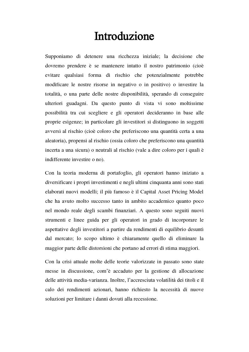 Anteprima della tesi: Analisi comparata di modelli per la gestione di portafoglio, Pagina 2