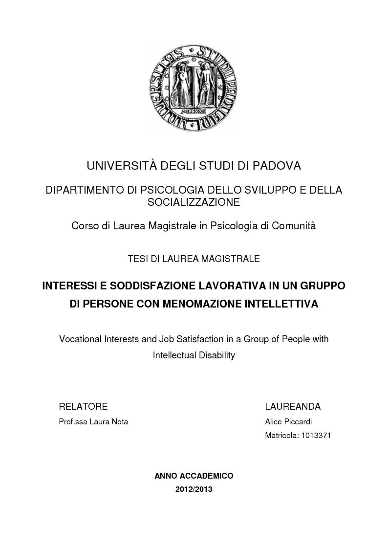 Anteprima della tesi: Interessi e Soddisfazione Lavorativa in un Gruppo di Persone con Menomazione Intellettiva, Pagina 1