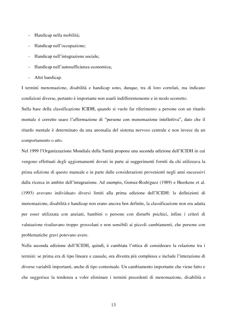 Anteprima della tesi: Interessi e Soddisfazione Lavorativa in un Gruppo di Persone con Menomazione Intellettiva, Pagina 10