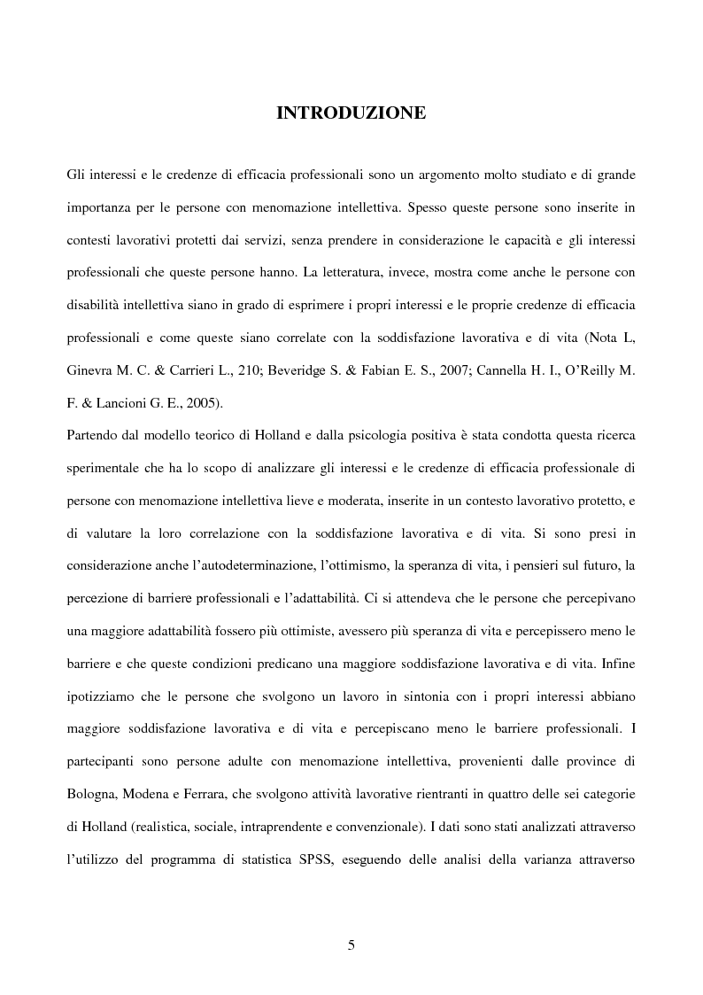 Anteprima della tesi: Interessi e Soddisfazione Lavorativa in un Gruppo di Persone con Menomazione Intellettiva, Pagina 2