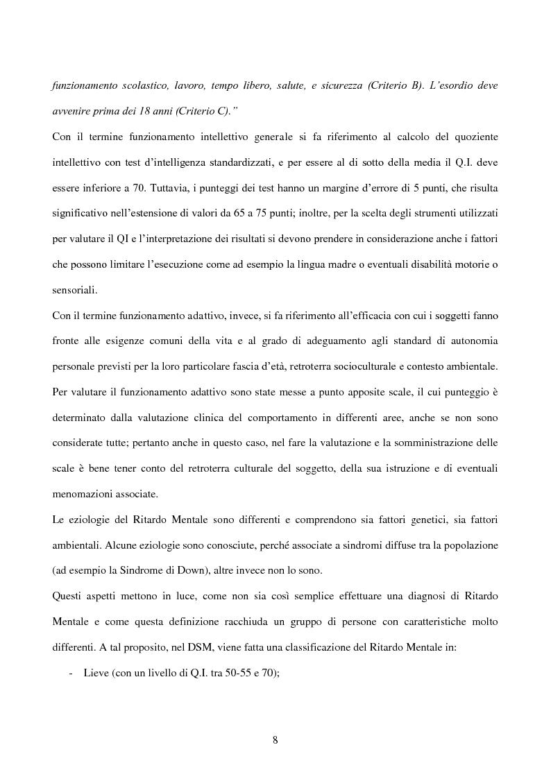 Anteprima della tesi: Interessi e Soddisfazione Lavorativa in un Gruppo di Persone con Menomazione Intellettiva, Pagina 5
