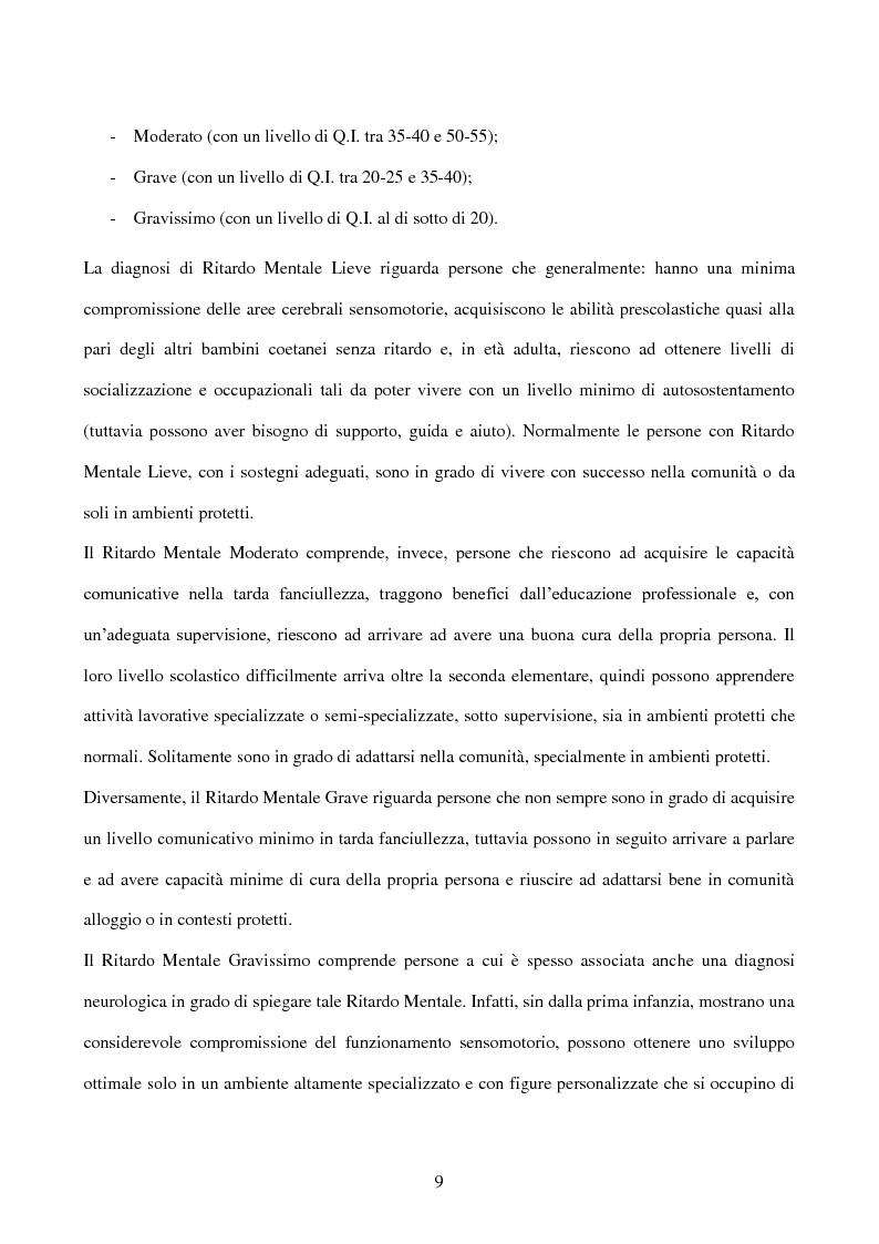 Anteprima della tesi: Interessi e Soddisfazione Lavorativa in un Gruppo di Persone con Menomazione Intellettiva, Pagina 6