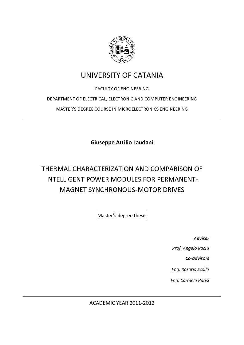 Anteprima della tesi: Thermal Characterization and Comparison of Intelligent Power Modules for Permanent-Magnet Synchronous-Motor Drives, Pagina 1